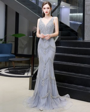 V-neck Silver Beading Mermaid Style Evening Dress with Feather Tippet HG99455