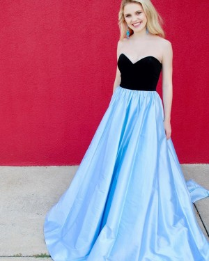 Sweetheart Black & Blue Satin Simple Long Formal Dress with Pockets PD1995
