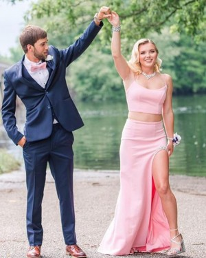 Spaghetti Straps Light Pink Two Piece Mermaid Long Formal Dress with Beading Side Slit PD2000