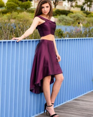 Simple High Low Two Piece Burgundy One Shoulder Satin Long Formal Dress PD2001