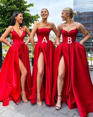 Strapless Red Satin Side Slit Simple Long Formal Dress with Pockets PD2004