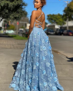 Spaghetti Straps Light Blue Lace A-line Long Formal Dress PD2007