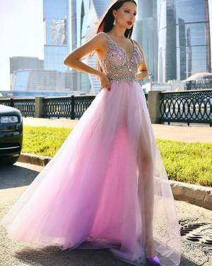 Beading Bodice Mauve Tulle V-neck Long Formal Dress with Side Slit PD2008