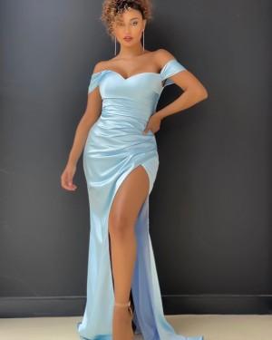 Light Blue Satin Off the Shoulder Long Formal Dress with Side Slit PD2010