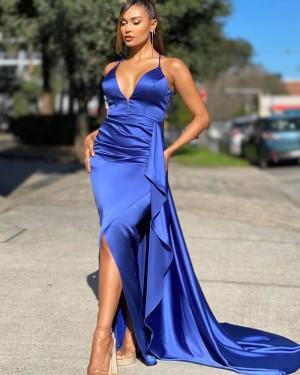 Spaghetti Straps Blue Satin Mermaid Simple Long Formal Dress PD2011