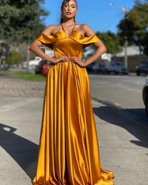 Cold Shoulder Gold Satin Simple Long Formal Dress PD2012