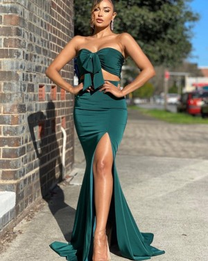 Two Piece Green Knotted Bodice Satin Mermaid Simple Long Formal Dress with Side Slit PD2013