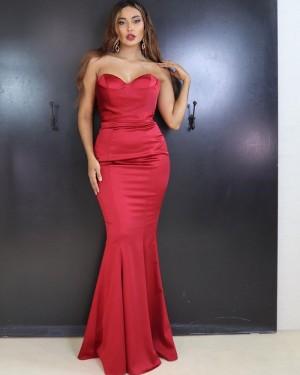 Sweetheart Red Satin Mermaid Simple Long Formal Dress PD2016
