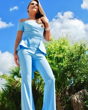 Off the Shoulder Satin Light Blue Unique Jumpsuit with Short Sleeves PD2021