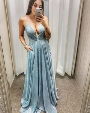 Ruched Metallic A-line Light Blue Long Formal Dress with Pockets PD2025