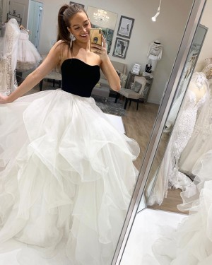 Strapless Black & White Tulle Ruffle Simple Long Formal Dress PD2028