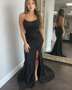 Black Satin Mermaid Spagehtti Straps Long Formal Dress with Side Slit PD2031