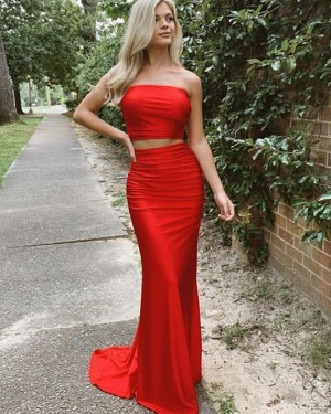 Two Piece Strapless Simple Satin Red Long Formal Dress PD2035