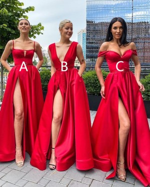 Spagehtti Straps Red Cutout Satin Side Slit Simple Long Formal Dress with Pockets PD2036