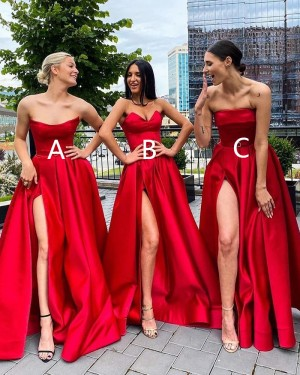 Strapless Red Satin A-line Simple Long Formal Dress with Side Slit PD2037