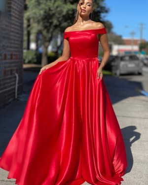 A-line Off the Shoulder Red Satin Simple Long Formal Dress PD2041