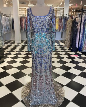 Sequin Lace Mermaid Scoop Long Formal Dress with Long Sleeve PD2043