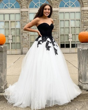 Black & White Tulle Applique Sweetheart Long Formal Dress PD2047
