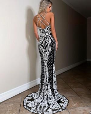 Beading Spaghetti Straps Lace White & Black Mermaid Prom Dress PD2049