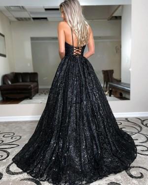 Black Spaghetti Straps Sequin A-line Prom Dress PD2050