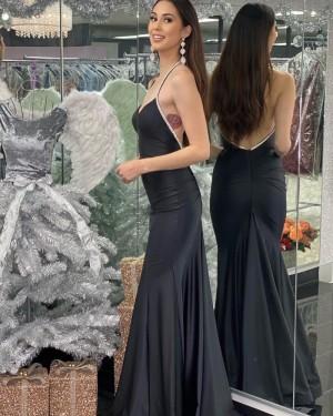 Halter Black Mermaid Satin Simple Prom Dress with Beading PD2052