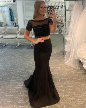 Black Two Piece Bateau Neck Satin Mermaid Prom Dress with Tassels PD2054