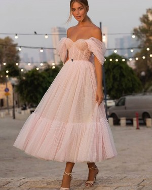 Light Pink Off the Shoulder Tulle Ankle Length Polka Dots Pleated Graduation Dress PD2057