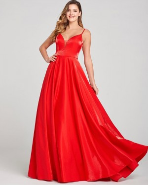 Spaghetti Straps Red Satin A-line Simple Prom Dress PD2064