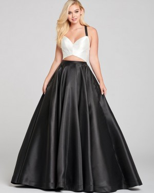Criss-cross Cutout White & Black Satin Simple Prom Dress with Pockets PD2065