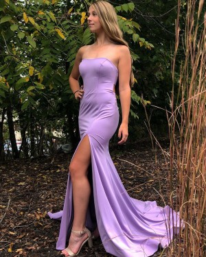 Strapless Lavender Satin Mermaid Simple Prom Dress with Side Slit PD2068