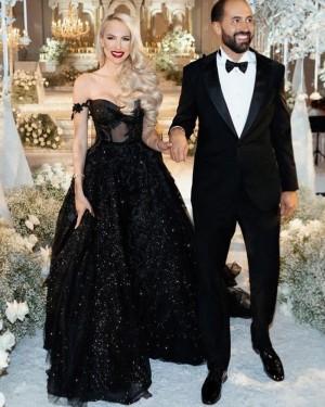 Sparkle Sequin Black Off the Shoulder Evening Dress with Applique PD2071