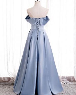 Knitted Body Light Blue Strapless Satin Evening Dress PD2073