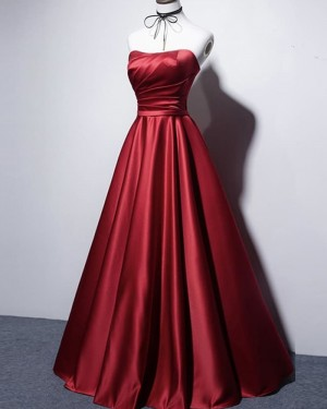 Strapless Red Satin Ruched Simple Prom Dress PD2075