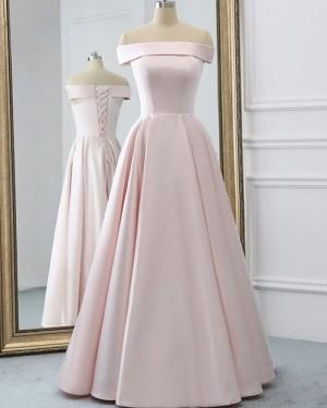 Simple Satin Strapless Neckline Pearl Pink Evening Dress PD2076
