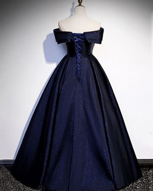 Navy Blue Glitter-Knit Off the Shoulder Evening Dress PD2077