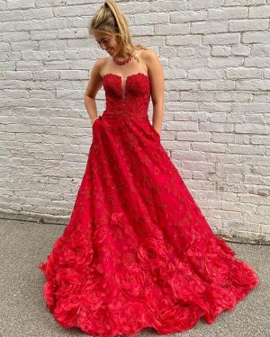 Red Lace A-line Strapless Prom Dress with Pockets PD2079
