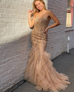 Champagne Lace Ruffled Strapless Mermaid Prom Dress PD2080