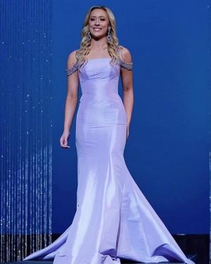 Beading Satin Lavender Cold Shoulder Mermaid Prom Dress PD2083
