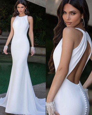 White Simple Satin Jewel Neck Mermaid Evening Dress with Open Back PD2089