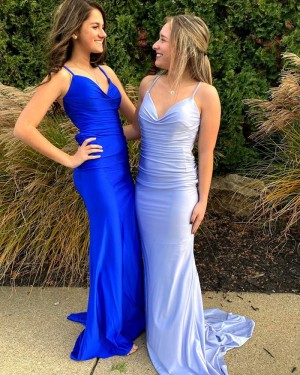 Blue Spaghetti Straps Ruched Satin Mermaid Simple Prom Dress PD2091