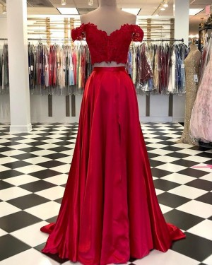 Off the Shoulder Red Lace Bodice Satin Two Piece Prom Dress with Side Slit PD2092