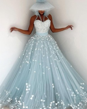 Mint Pleated Appliqued Tulle Halter Evening Dress PD2098