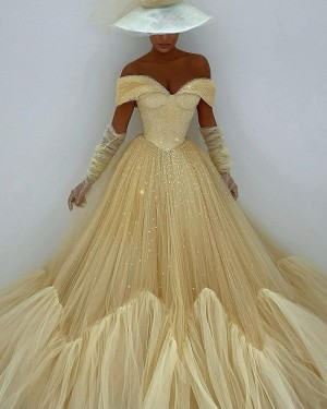 Light Yellow Glitter Pleated Off the Shoulder Evening Dress with Long Sleeves PD2099