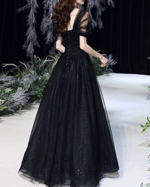 Tulle Pleated A-line Black Prom Dress with Cap Sleeves PD2101