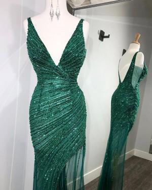 Sequin Ruched Green V-neck Mermaid Long Formal Dress with Side Slit PD2110