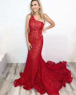 Elegant Red One Shoulder Lace Mermaid Long Formal Dress PD2111