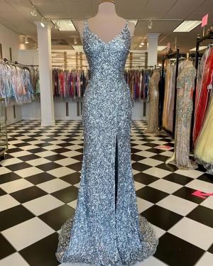 Silver Sequin Mermaid V-neck Long Formal Dress with Side Slit PD2115