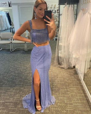 Two Piece Lavender Sequin Tulle Square Side Slit Long Formal Dress with Tassels PD2117
