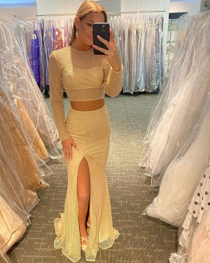 Light Yellow Long Sleeve Cross Net Lace Two Piece Mermaid Long Formal Dress with Side Slit PD2119