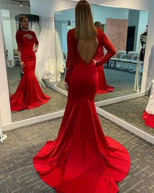 Beading Red Cutout High Neck Mermaid Satin Evening Dress with Long Sleeves PD2121